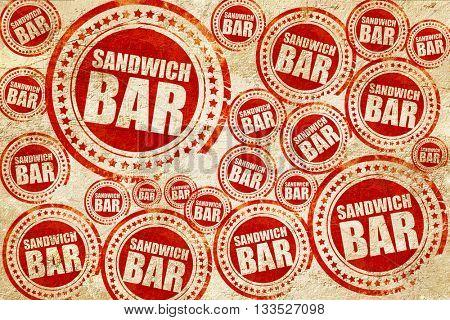 sandwich bar, red stamp on a grunge paper texture