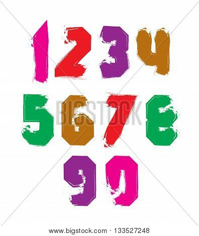 Handwritten colorful vector freak numbers stylish digits set drawn with ink brush.