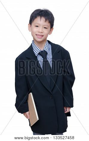 Asian boy in big suit over white