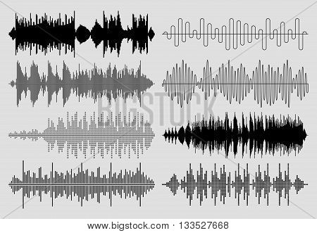 Sound music waves vector set. Audio technology musical pulse or sound charts. Equalizer play sound waves