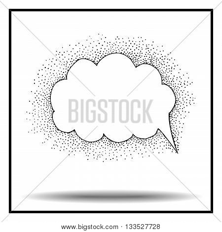 Bubble icon sketch. Black and white bubble illustration. Bubble pointillism sketch. Pointillism style bubble. Point pattern.