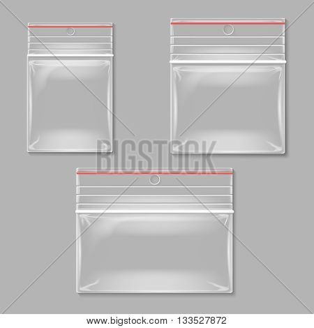 Blank transparent plastic zipper bag vector set. Empty container plastic, polythene container set illustration