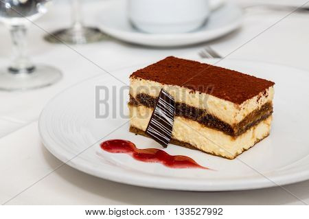 Chocolate and Vanilla Pastry with Raspberry Sauce and garnish