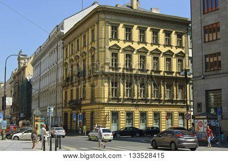 Prague Czech - 03 July 2015: Residental houses on the Hybernska street