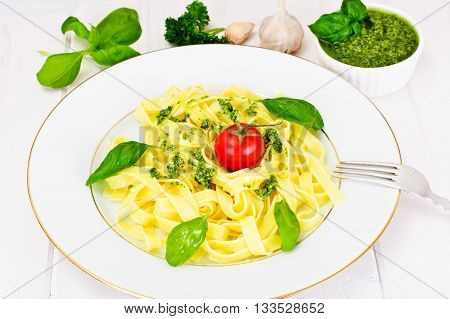 Fettuccine and Tagliatelle with Basil Pesto Studio Photo