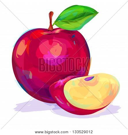 Vector hand drawn painting fruit. Apple on white background. This is illustration ideal for a mascot and T-shirt graphic. Stock illustration