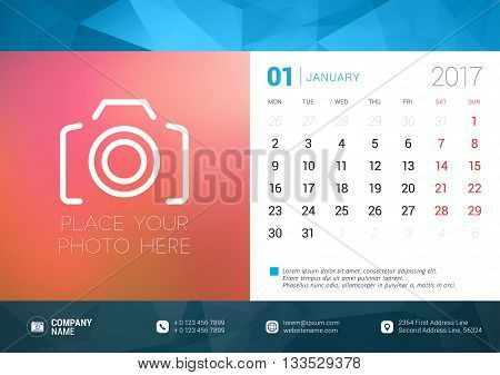 Desk Calendar Template For 2017 Year. January. Design Template With Place For Photo. Week Starts Mon