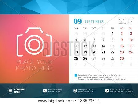 Desk Calendar Template For 2017 Year. September. Design Template With Place For Photo. Week Starts M