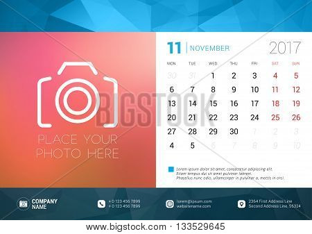Desk Calendar Template For 2017 Year. November. Design Template With Place For Photo. Week Starts Mo