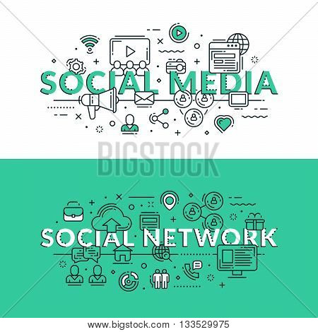 Social Media And Social Network Concept. Colored Flat Vector Illustration In Seagreen And White Colo