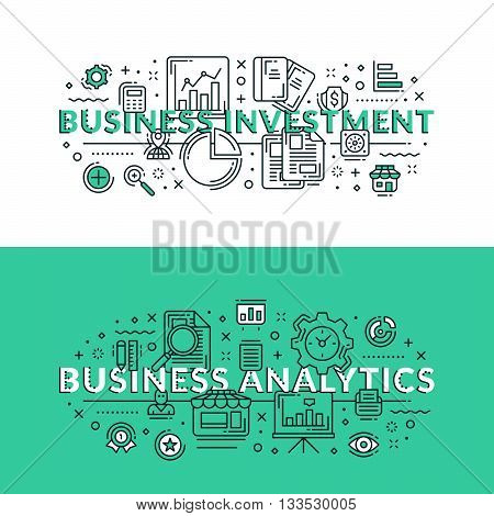 Business Investment And Business Analytics. Colored Flat Vector Illustration In Seagreen And White C