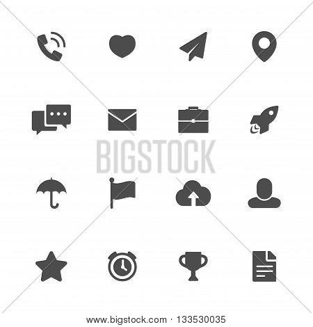 Miscellaneous flat icons black set of 16