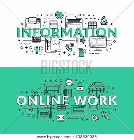 Information And Online Work Concept. Colored Flat Vector Illustration In Seagreen And White Colors.