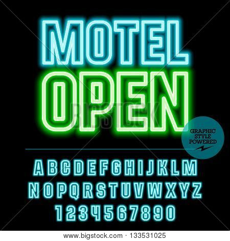 Neon bright set of alphabet letters, numbers and punctuation symbols. Vector light up colorful sign with text Motel open
