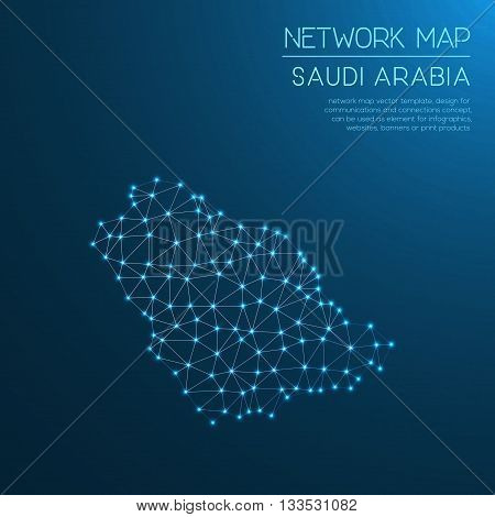 Saudi Arabia Network Map. Abstract Polygonal Map Design. Internet Connections Vector Illustration.