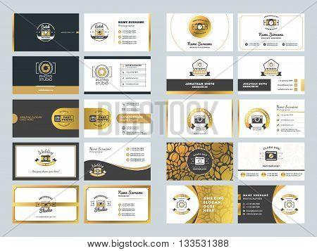 Set Of Creative Golden Business Card Design Templates