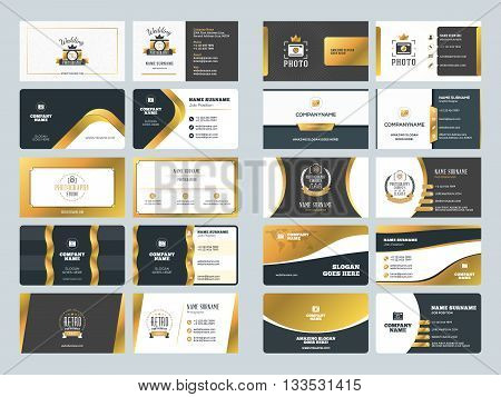 Set Of Creative Golden Business Card Design Templates