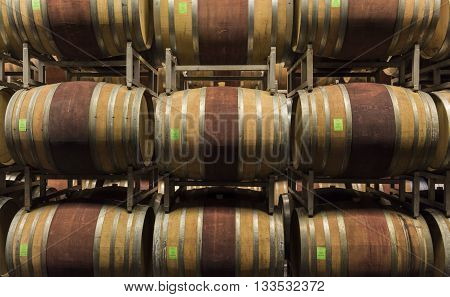 Alba Italy - May 30 2016: Cellar with barrels of wine of Ceretto Winery Piedmont Italy in Alba district.