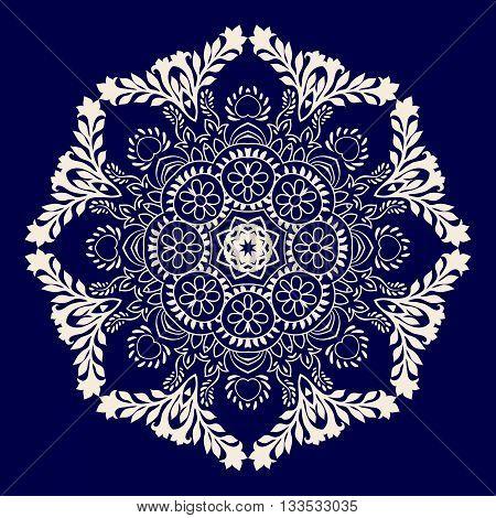 Vector rosette ornament. Colorful mandala. Vector snowflake
