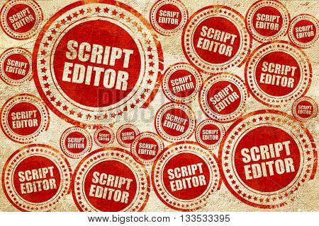 script editor, red stamp on a grunge paper texture
