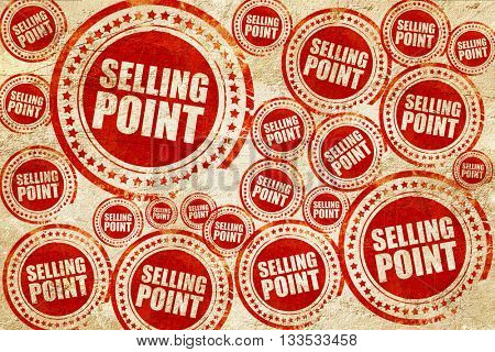 selling point, red stamp on a grunge paper texture