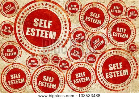 self esteem, red stamp on a grunge paper texture