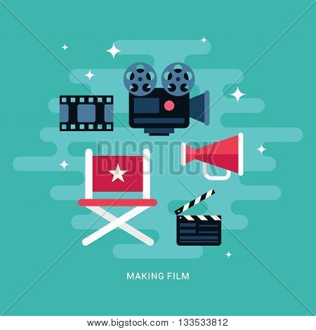 Making Film Concept Illustration. Set of Flat Style Vector Icons