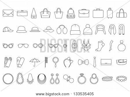 Accessories icons. Line icons  bags, hats, jewelry, glasses
