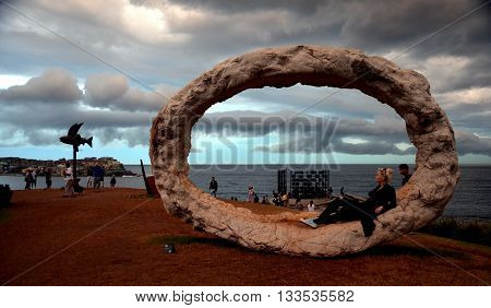 SYDNEY, AUSTRALIA 06.11.2015. Storm occurred over Sydney during the public event. Sculpture by the Sea along the Bondi to Coogee coastal walk is the world's largest free to the public sculpture exhibitions.