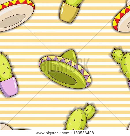 Seamless pattern of colorful cacti and sombreros. Vector illustration.