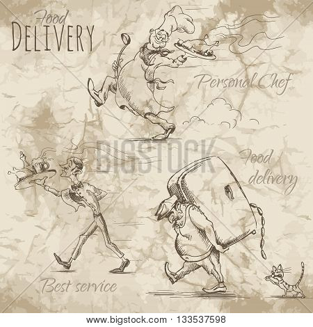 People in a hurry to deliver different food and drinks on a tray. Vector illustration on the old paper background.