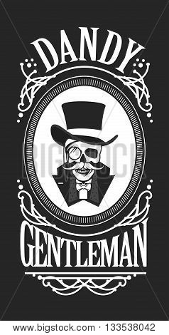 vector illustration of a skull wearing a hat cylinder gentleman in black and white vintage frame