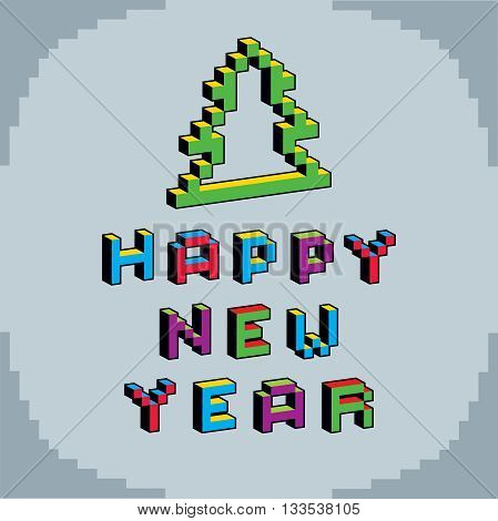 Happy New Year phrase created in digital technology style vector 8 bit Christmas tree.