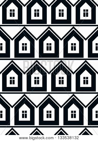 Simple vector houses continuous background. Building modeling and engineering projects idea seamless pattern.