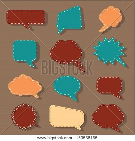 Speech bubbles tag sticker set, chat dialog background.