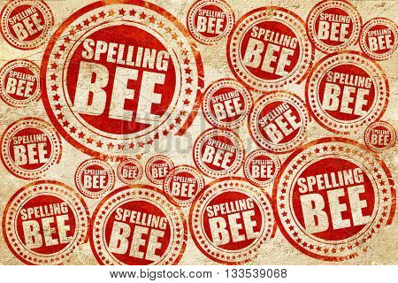 spelling bee, red stamp on a grunge paper texture