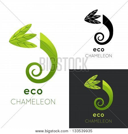 Eco chameleon logo. Vector illustration isolated on white. Green stylized chameleon with leaves. Concept for eco company, organic shop, vegetarian restaurant