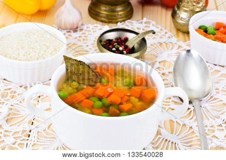 Soup with Chicken Broth with Rice and Vegetables Studio Photo