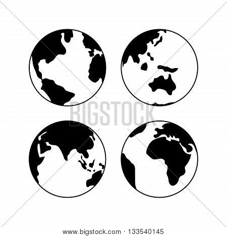 Globe Earth vector black icons set, vector globe signs isolated on white. Globe icons for web and applications. Travel concept. Globe icons for geography