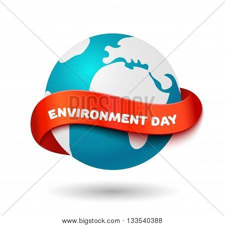 Environment day concept. Big Earth globe with curve red ribbon and space for text. Realistic vector illustration. World environment day banner