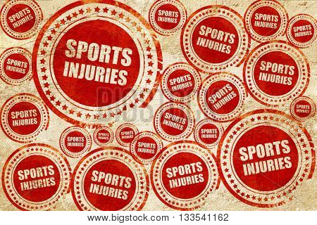 sports injuries, red stamp on a grunge paper texture