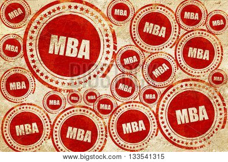 mba, red stamp on a grunge paper texture