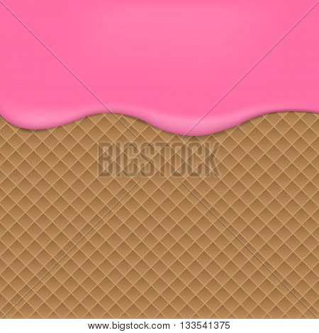 Wafer background with raspberries jam. Vector illustration