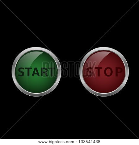 Start and stop buttons. Red and green buttons. Start and finish. Vector illustration