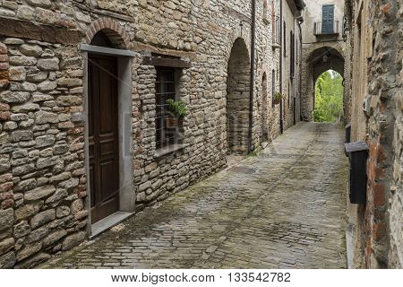 Old narrow street arch and houses in Mombaldone Piedmonte Italy.