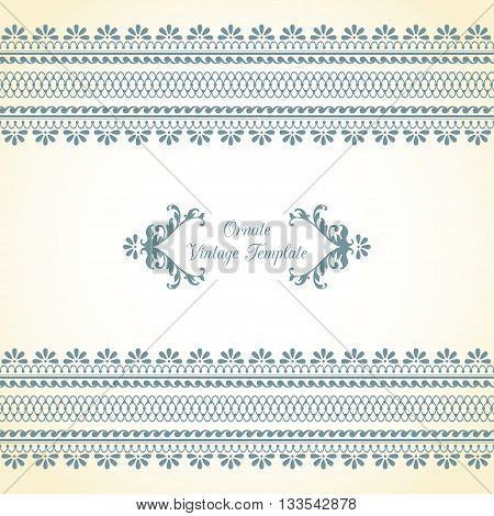 Template with ornamental border and calligraphic decorative frame