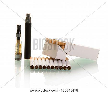 Electronic and a pack of cigarettes with filter isolated on white background.