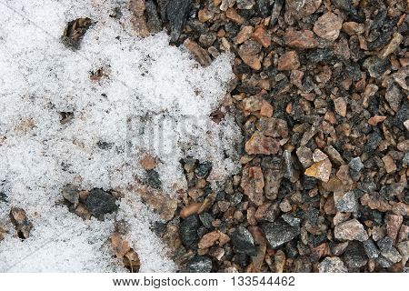 Abstract Gravel Background. Snow And Gravel.