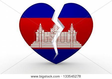 Broken white heart shape with Cambodia flag 3D rendering
