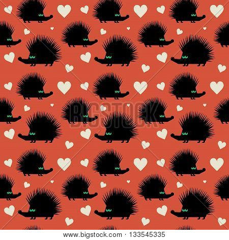 Seamless color pattern hedgehog theme, vector illustration